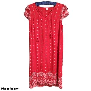 Old Navy Linen Blend Tunic Dress Red Embroidered